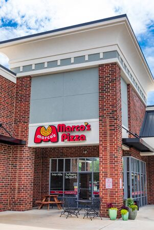 MOORESVILLE, NC, USA-JUNE 19, 2019: A local Marcos Pizza restaurant building.