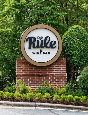 HICKORY, NC, USA-12 JULY 2019:  Street sign for the Cafe Rule & Wine Bar a high-end restaurant and bar in Hickory.