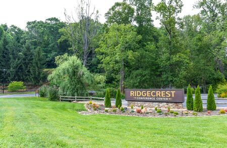 RIDGECREST, NC, USA-27 JULY 19: The entrance to Ridgecrest Conference Center, a Christian facility setting in the Blue Ridge Mountains.
