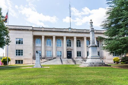 RUTHERFORD, NC, USA-27 JULY 19: Historic (1925-26) Courthouse, a 2 story Renaissance Revival style building, set on Main St.