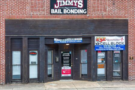 RUTHERFORD, NC, USA-27 JULY 19: Jimmys Bail Bonding, on Main St., in Rutherfordton.