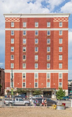 ASHEVILLE, NC, USA-27 JULY 2019: The Vanderbilt Apartments, on Haywood Street, is a senior care provider community.