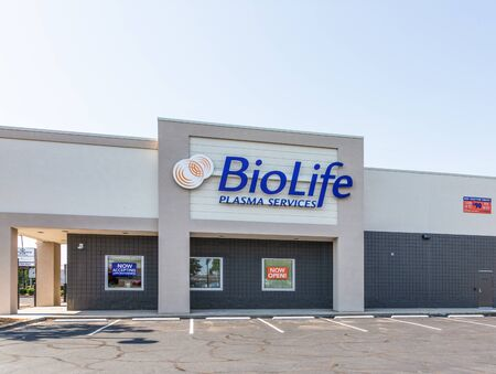 CHARLOTTE, NC, USA-28 July 2019:  Biolife Services, a plasma donation center, stands on South Blvd.