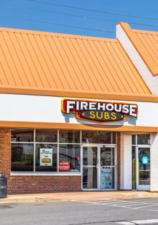 CHARLOTTE, NC, USA-28 July 2019: One of over 1100 frnchise Firehouse Subs restaurants, this store is on South Blvd in Charlotte.