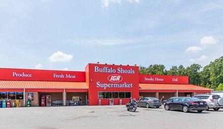 BUFFALO SHOALS, NC, USA-28 JULY 2019: The Buffalo Shoals Supermarket, and IGA affiliate, on HWY US 16 near Newton, NC.