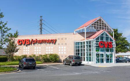 CHARLOTTE, NC, USA-28 July 2019: A modern CVS Pharmacy building on South Blvd, one of over 9600 locations. Redakční