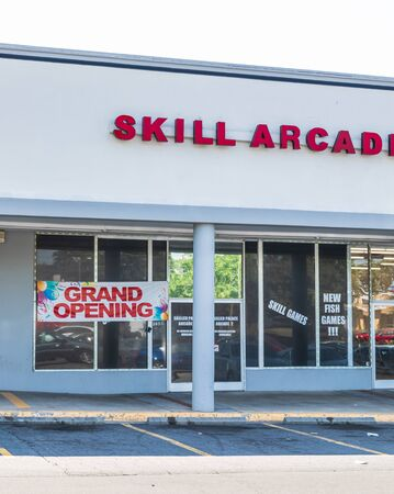 CHARLOTTE, NC, USA-28 July 2019: Another games arcade opens, this one on South Blvd. in Charlotte.