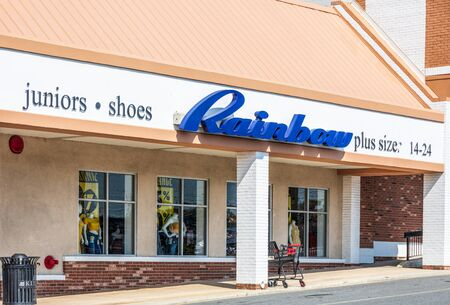 CHARLOTTE, NC, USA-28 July 2019: Inexpensive womens and childrens clothing store, this Rainbow store is on South Blvd. in Charlotte.