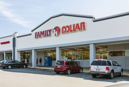 CHARLOTTE, NC, USA-28 July 2019: A Family Dollar store on South Blvd, one of over 8000 locations.