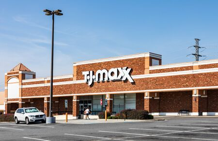 CHARLOTTE, NC, USA-28 July 2019: One of over 1000 stores, this TJ Maxx stands in a strip mall on South Blvd.