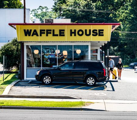 CHARLOTTE, NC, USA-28 July 2019: This Waffle House on South Blvd. is one of more than 2100 locations. Redakční