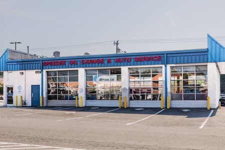 CHARLOTTE, NC, USA-28 July 2019: Speedee Oil Change & Auto Service has more than 150 locations.   This garage is on South Blvd. in Charlotte. Editorial