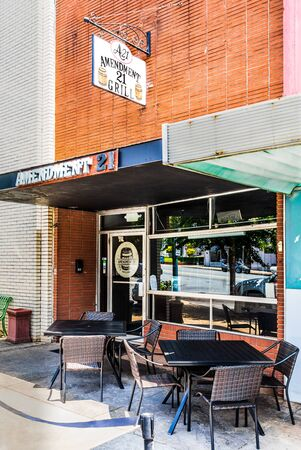 RUTHERFORDTON, NC, USA-JULY 27,2019:  The Amendment 21 Grill, a Main Street Grill and Brewery, named after the Amendment repealing Prohibition in the U.S.