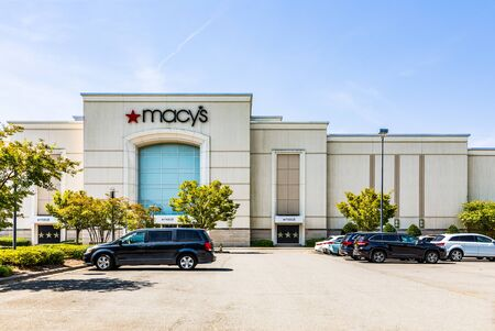 CHARLOTTE, NC, USA-28 July 2019:  Exterior entrance to the Southpark mall Macys.