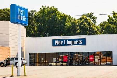 CHARLOTTE, NC, USA-28 July 2019:  This Pier One Imports store is on South Blvd., and one of about 1000 stores in the US and Canada. Editorial