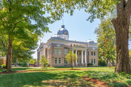 SHELBY, NC, USA-9 AUGUST 2019: The old Cleveland County Courthouse building, now the Earl Scruggs Center for traditional music and stories.