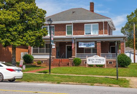 LINCOLNTON, NC, USA-9 AUGUST 2019: An old house on main street, converted to offices, and the home of the Lincoln County Republican Party. Redakční
