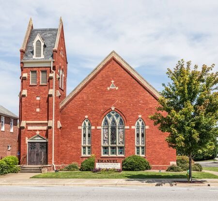 LINCOLNTON, NC, USA-9 AUGUST 2019:  Emanuel Reformed Church, a United Church of Christ Congregation, stands on Main Street in Lincolnton.