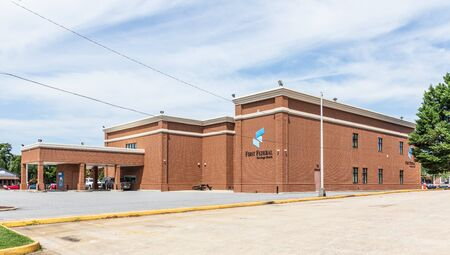 LINCOLNTON, NC, USA-9 AUGUST 2019: The rear of First Federal Savings bank, showing drive-thru.
