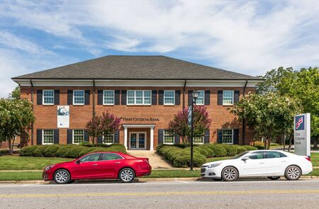 LINCOLNTON, NC, USA-9 AUGUST 2019: The First Citizens Bank building, on Main St. in Lincolnton.