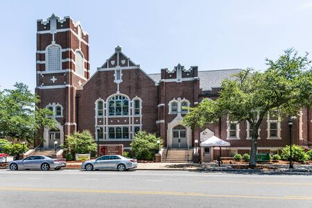 LINCOLNTON, NC, USA-9 AUGUST 2019: The stately Central United Methodist Church, on Main St.