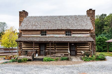WILKESBORO, NC, USA-19 OCT 2019: The 1779 home of Robert Cleveland, built in Purlear, in western Wilkes County; moved, and restored behind the old jail.