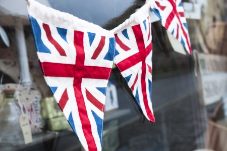 Union jack bunting being hung for Jubilee photo