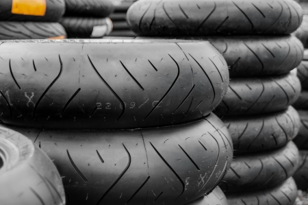 Stack of motorcycle rear tyres tires photo