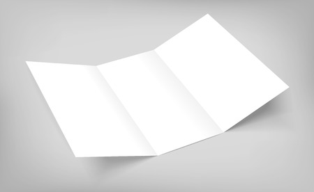 Blank tri fold paper flyer on gray background.