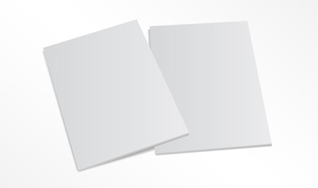 Blank magazine covers isolated on white background. 3D illustration with soft shadows.  イラスト・ベクター素材