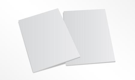 Blanco magazine covers op een witte achtergrond. 3D illustratie met zachte schaduwen. Stock Illustratie