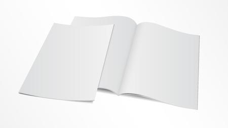 libro: Ilustración del vector. Pareja de plantilla de la revista en blanco abierto con la cubierta.