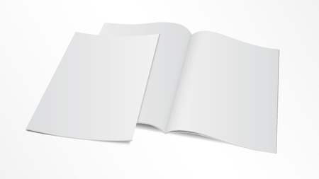 book design: Vector illustration. Couple of blank opened magazine template with cover. Illustration