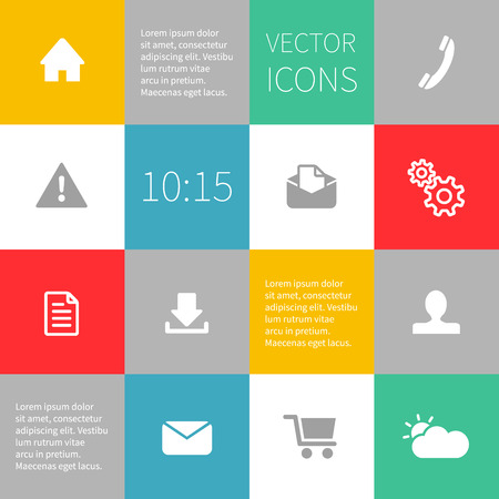 shopping trolley: Squared infographics idea with simple flat icons. Editable vector format. Ready to change colours. Illustration