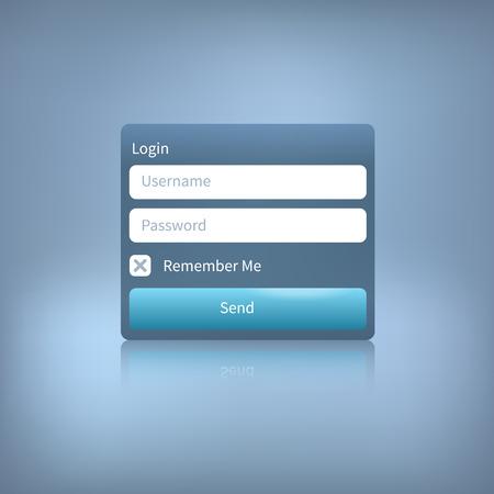 Illustration eines Web-Login-Panel mit Taste getrennt auf einem blauen Hintergrund. Mitglieder-Login Vorlage. Standard-Bild - 35894664