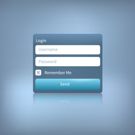 login button: Illustration of a web login panel with button isolated on a blue background. Member login template.