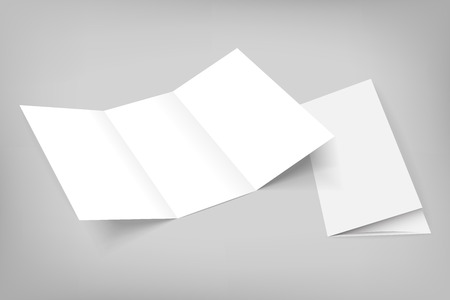 Blank mockup tri fold paper opened flyer on gray background with cover. 3D illustration with soft shadows. Vettoriali
