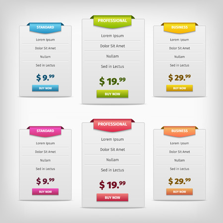 Pricing plans for websites. Colorful template tables.