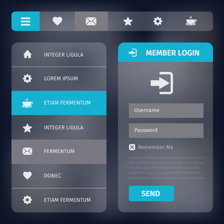 web elements: User interface design with horizontal and vertical navigation. Simple flat icons, member login.