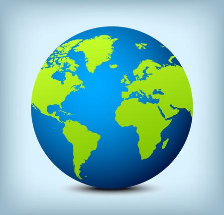 Blue globe pictogram met groene continenten en zachte schaduw op lichte blauwe achtergrond.