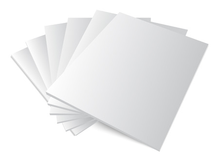 Blank covers mockup magazine template on white background with soft shadows Stock Illustratie