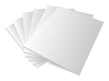 Blanco dekt mockup tijdschrift sjabloon op witte achtergrond met zachte schaduwen