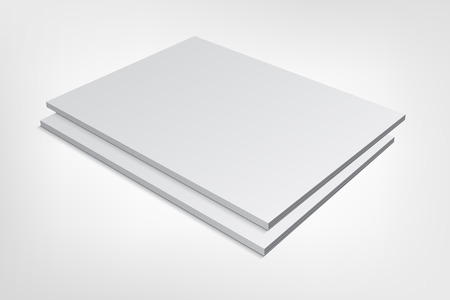 Couple of blank magazine covers isolated on gray background. 3D mockup illustration with soft shadows.  イラスト・ベクター素材
