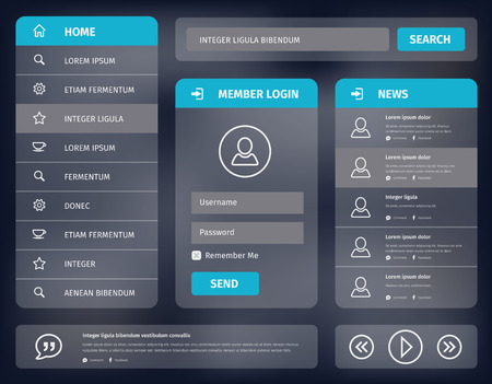 web design elements: illustration user interface for mobile or web with member login and vertical navigation.  Illustration