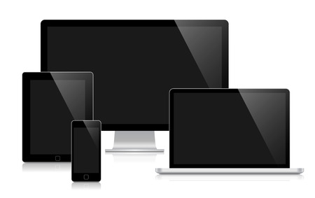 set design: illustration set of blank devices for presentation of responsive web design.