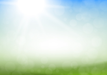 green grass and blue sky: Abstract spring or summer background with green grass, blue sky and sun.