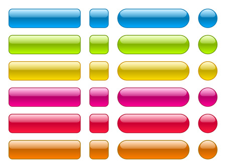 Set of blank colorful buttons. Colorful collection in different shape. Illusztráció