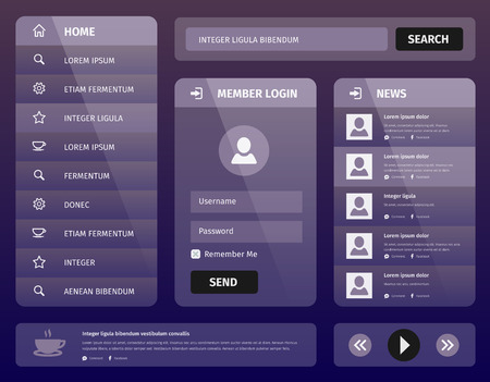 Modern purple illustration user interface for mobile or web with member login and vertical navigation 矢量图像