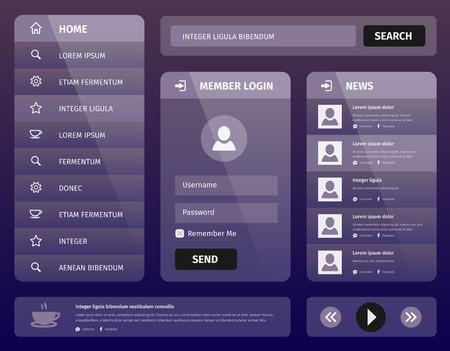 Modern purple illustration user interface for mobile or web with member login and vertical navigation Illustration