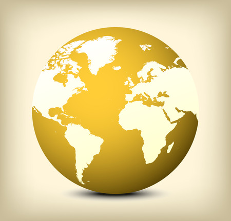 golden globe: Golden globe icon with soft shadow on yellow background.